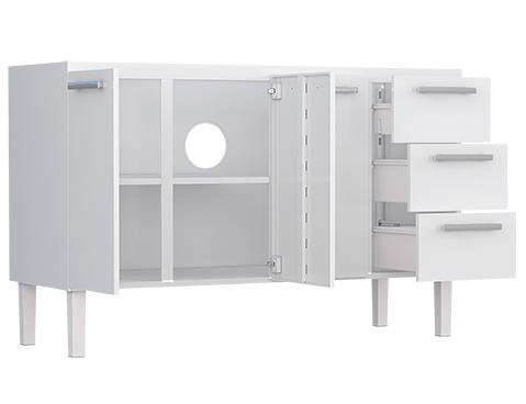 Gabinete de Cozinha em Aço Cozimax Vênus Flat 150 Portas e Gavetas Abertas