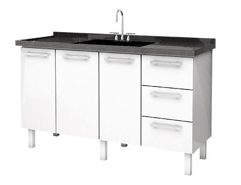 Gabinete de Cozinha em Aço Cozimax Vênus Flat 150 Branco e Preto