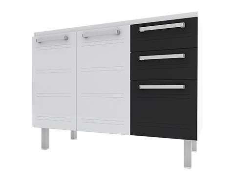 Gabinete de Cozinha em Aço Cozimax Hércules Flat 120 Branco com detalhe em Preto