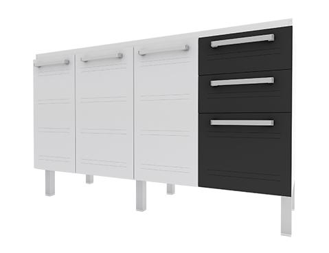 Gabinete de Cozinha em Aço Cozimax Hércules Flat 140 150 160 Branco com detalhe em Preto