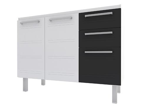 Gabinete de Cozinha em Aço Cozimax Zeus Flat 120 Branco com detalhe em Preto