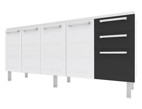 Gabinete de Cozinha em Aço Cozimax Hércules Flat 180 200 Branco com detalhes em Preto