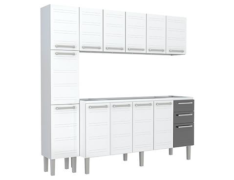 Gabinete Aéreo Paneleiro de Cozinha em Aço Cozimax Hércules Flat 180 200 Branco com detalhes em preto