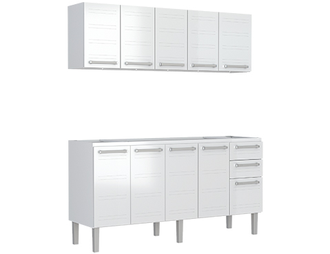 Gabinete e Aéreo de Cozinha em Aço Cozimax Hércules Flat 180 200 Branco