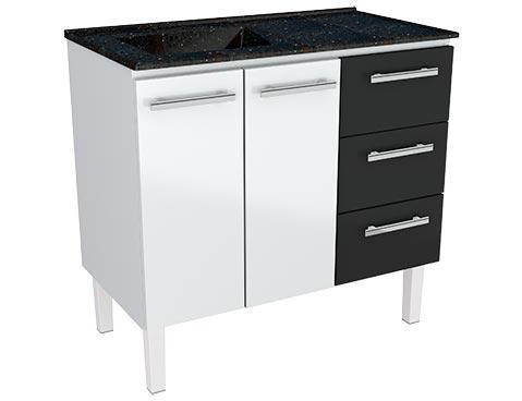 Gabinete de Cozinha em Aço Venus Flat 100 Cozimax cor Branco com Gavetas Pretas e Pia na Cor Preto Gratinado
