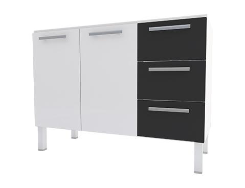 Gabinete de Cozinha em Aço Cozimax Vênus Flat 120 Branco com Detalhe Preto