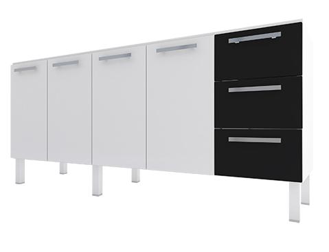 Gabinete de Cozinha em Aço Cozimax Vênus Flat 180 200 Branco e Preto|