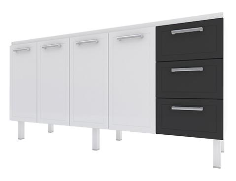 Gabinete de Cozinha em Aço Cozimax Apolo Flat 180 / 200 Branco com detalhe em Preto