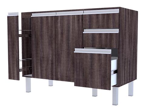 Gabinete de Cozinha em Madeira Cozimax Tupã 120 140 150 Dakota aberto
