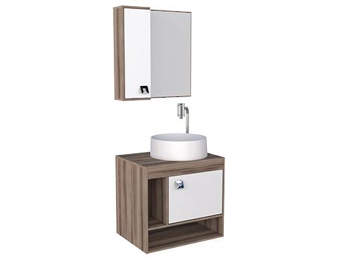 Banheiro em Madeira Toucador e Espelheira em Madeira Cozimax Acacia