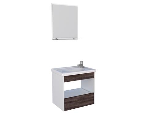 Banheiro em Madeira com Toucador e Espelheira em Madeira Cozimax Topázio Branco e Dakota