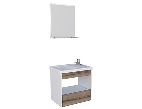 Banheiro em Madeira com Toucador e Espelheira em Madeira Cozimax Topázio Branco e Tamarindo