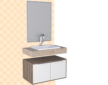 Toucador e espelheira para banheiro Arati Cozimax