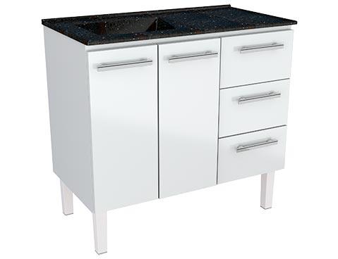 Gabinete de Cozinha em Aço Venus Flat 100 Cozimax cor Branco e Pia na Cor Preto Gratinado