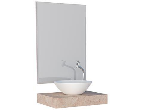 Espelheira com Bancada Suspensa em Porcelanato cor Branco Marmorizado Banheiro Peri Cozimax