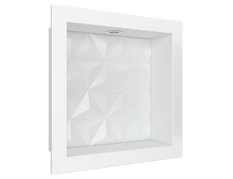 Nicho em Mármore Sintético Cozimax Medida 30 x 30 cor Branco com Led