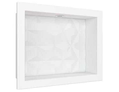 Nicho em Mármore Sintético Cozimax Medida 40 x 30 cor Branco com Led