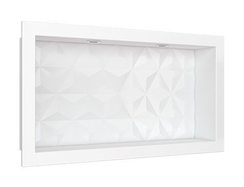 Nicho em Mármore Sintético Cozimax Medida 60 x 30 cor Branco com Led
