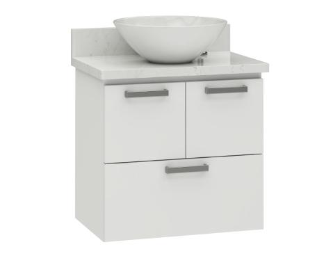 Banheiro em aço Ísis com bancada em porcelanato
