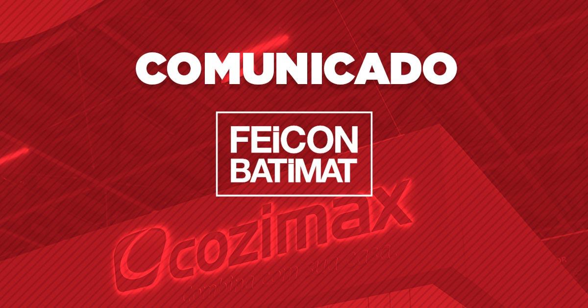 Comunicado da Cozimax sobre a participação na Feicon Batimat 2020