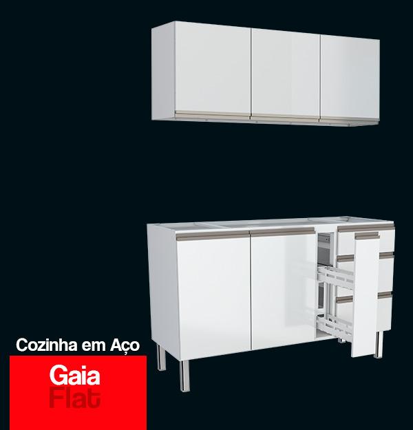 Gabinete de Cozinha de Aço Gaia Flat