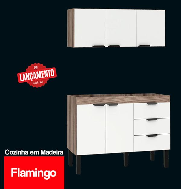 Gabinete de Cozinha de Madeira Flamingo