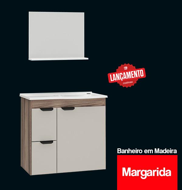 Conjunto para Banheiro Toucador e Espelheira de Madeira Margarida