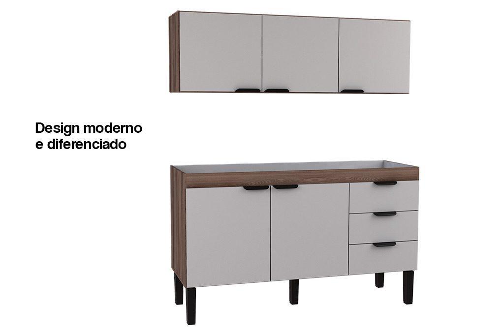 Gabinete de Cozinha em Madeira Flamingo Cozimax Móveis